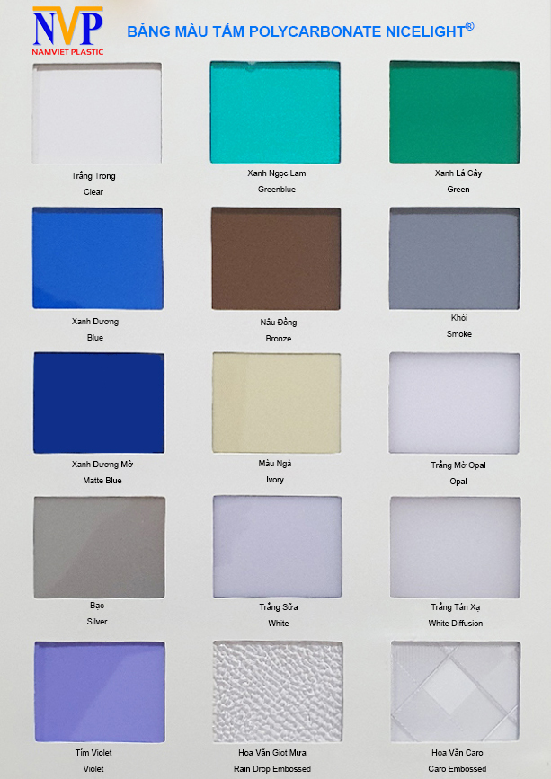 Tấm lợp nhựa PolyCarbonate có màu sắc đa dạng phù hợp với nhiều dụng ý thiết kế khác nhau