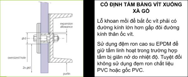 Bước 2: Cố định tấm bằng vít có ron cao su EPDM lên xà gồ